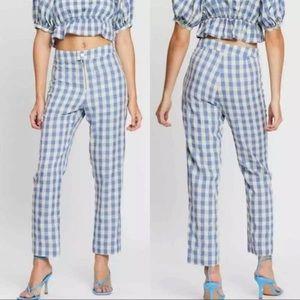 Capulet Keely Gingham Check NWT Blue/Cream Pants M